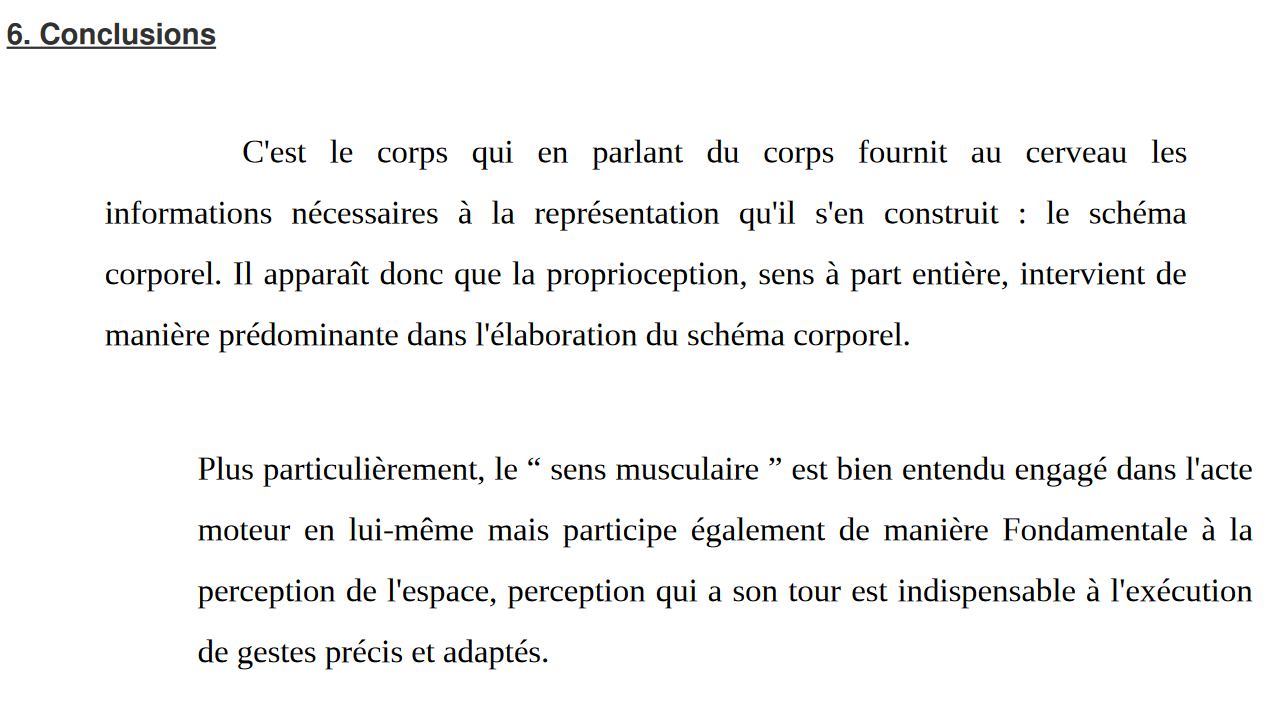 Proprioception et schéma corporel
